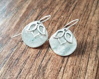 Silver Floral Dangle Earrings