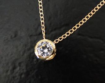 Diamond CZ Solitaire Necklace - 14/20Gold Filled, 1 Carat Slide Pendant