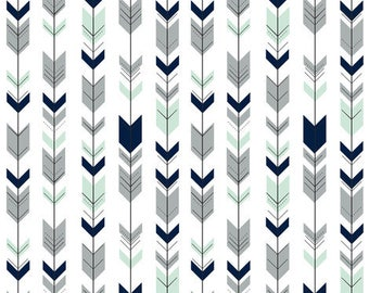 Baby Crib Rail Guard Cover - White Fletching Arrow with Mint Navy Gray Arrows