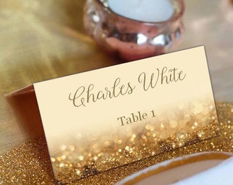 Gold Glitter Wedding Place Cards, Tented DIY Place Card Printable, DIY Instant Download, code-016