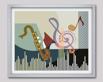 Musical Artwork Print, Saxophone Art, Music Pop Art Decor, Music Inspired Art, Music Notes Wall Art