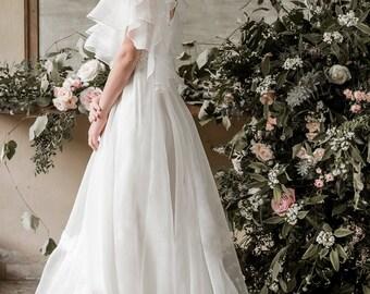 Edwardian wedding dress, silk organza wedding gown, garden wedding dress, romantic wedding dress, romantic wedding gown, ivory bridal gown
