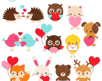 Animal Love Clipart Set - clip art set of animals with hearts, love letters, balloons - personal use, small commercial use, instant download