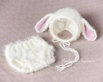 Baby Hat with Ears, Brushed Bunny Bonnet & Diaper Cover Set Photo Prop