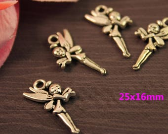 Set of 10 charms silver Charms 25x16mm Elf girl