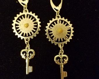 Steampunk Silver Dangle Earrings