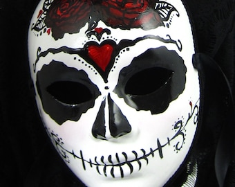 True Love Ways Male Mask, Day of the Dead full faced paper mache mask