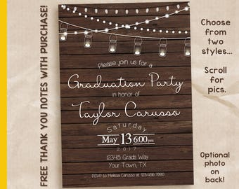 Rustic graduation invitation / graduation party invitation / printable invitation