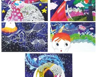 Art drawing Postcard, 4 bundles of 5 postcards, Star story Illustration original pieces designed by JW-20sheets