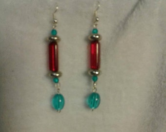 Colorful elegant drop earrings red and blue and silver beads