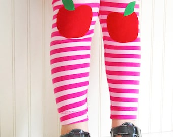 Apple Leggings. Girls Leggings. Toddler Leggings. Girls Tights. Knee Patch Leggings. Striped Leggings. Apples on Knees. First Day of School