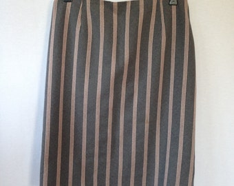 1960s grey with pink stripe skirt