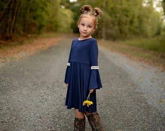 Girls Bell Sleeve Navy Blue Dress, Girls Navy Blue Dress, Girls Dresses Sizes 4/5, 6/6X, 7/8, 10/12 Ready to Ship
