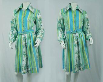 1950s - 60s Floral Shirtwaist Dress // Floral Cotton Day dress