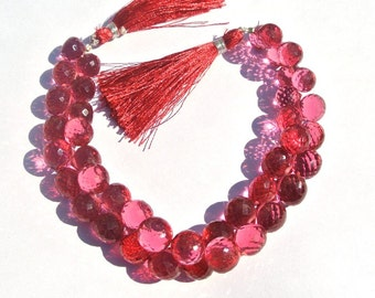 Full 8 Inches 41Pcs Super Finest  AAA Rubellite Pink Quartz Faceted Onion Briolettes Size 9 - 11mm Gemstone Briolette