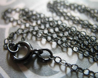 1 pc, 16 17 or 18 inch, Sterling Silver Chain, Finished Chain, Oxidized Necklace, Flat Cable, 2x1.5 mm, vintage done d66.d ox