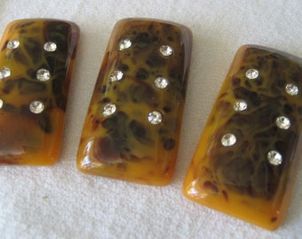 Set of 3 Rectangle Rhinestone Marbled Butterscotch Brown Rectangle Bead Cabochon  1