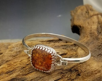 Amber Tension Bangle Bracelet in Sterling SilverCuff Style Easy On Easy Off Silver and Golden Orange READY TO SHIP