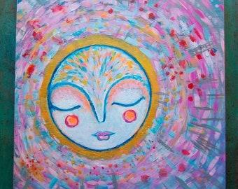 Wandering Moon / Mixed Media Painting