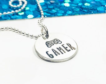 Game Controller Necklace - Girl Gamer Jewelry - Gamer Necklace - Gamer Gift - Video Game Jewelry - Hand Stamped Necklace - Silver Necklace