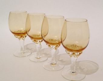 Honey Amber Aperitif Cordials Set of 4  Tulip Bowl Stemware Sherry Port After Dinner Liqueur Vintage Bar Glasses