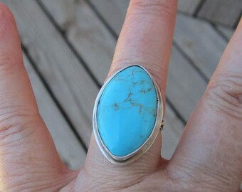 Native American Inspired Turquoise Sterling Silver Ring - Size 6-3/4