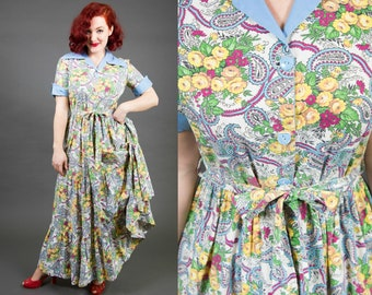 1950s Full Length Cotton Day Dress with Paisley and Yellow Rose Print | 50s Summer Dress | Sundress | Floral Print Dress | Novelty Print