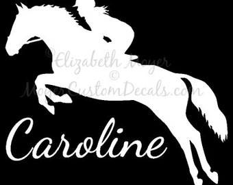 English Rider Hunter Jumper Jumping Horse ( #3) Vinyl Decal Sticker YOU PERSONALIZE Name and Color Personalized