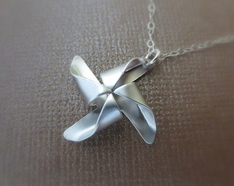 Silver Pinwheel Necklace in STERLING SILVER CHAIN--Valentines Necklace-Perfect Gift for mom Birthday Present for her for friends