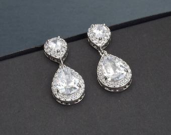 Waterdrop Cubic Zirconia Bridal Earrings, CZ Wedding Earrings, Bridal Drop Dangle Earrings, Bridal Earrings, Bridal Crystal Earrings