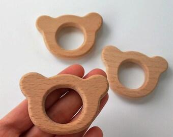 Out of natural wood of beech bear - BEAR beech wood teether - Teething toy - Wooden teether - teether natural wood
