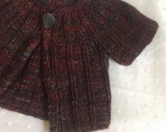 Handknit baby sweater 3-6 months in Malabrigo yarn
