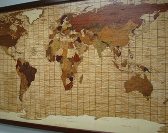 Wall Decor, World Map of Wood with LED and Fiber Optic Lighting.