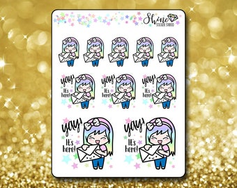 Luna Happy Mail Stickers - Planner Stickers Erin Condren Life Planner Cute Emoji Snail Mail Character Girl Stickers  Happy Planner
