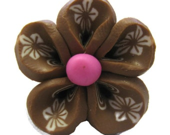 Brown Polymer Clay Flowers 20mm Beads Set of 4