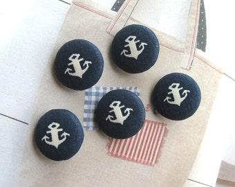Handmade Nautical Marine Navy Blue White Anchor Fabric Covered Buttons, Nautical Anchor Fridge Magnets, Flat Backs, 1 inch 5's