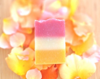 Blood Orange & Rose Artisan Soap -  All Natural Handmade Soap - Vegan and Cruelty Free - Sustainable Palm