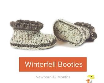 Crochet Baby Booties Pattern | Winterfell Baby Booties  | Sizes Newborn - 12 Months