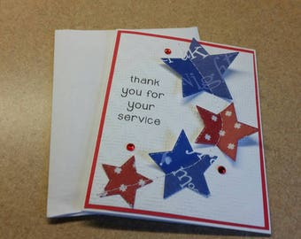 Sewn Thank You Card for Servicemen and Women. Military. Army. Marine. Navy. Air Force. Coast Guard. Veteran