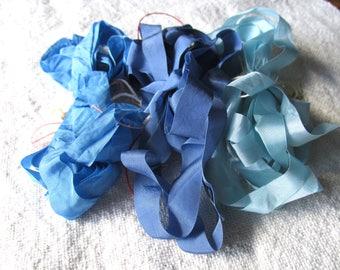 Vintage Rayon Seam Binding Three Yards Ruffled Scrunched Nassau Blue, Light Blue, Medium Blue Jewelry Ribbon Craft Supply