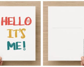 Postcard - Hello it's me! -A5 format to send letters and letters, Adele song quote