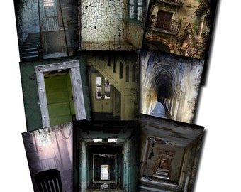 Dark Passages - Digital Printable Backgrounds - for ACEO, Tags, Collage Art JPG