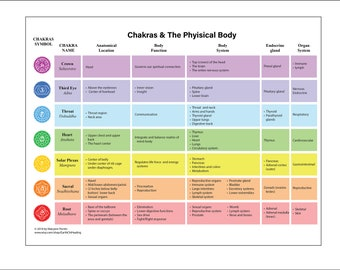 LAMINATED Chart Chakras and the Physical Human Body Anatomy Reiki Energy Healing
