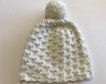 White beanie, slouchy hat, warm beanie, Crochet beanie, pom pom beanie, gift idea,Xmas gift, red slouchy hat