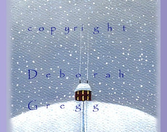 Winter Quiet a small Snow, Country Print by Deborah Gregg