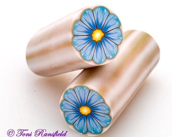 Light Blue and Light Turquoise Flower Polymer Clay Cane, Raw polymer Clay Cane, Millefiori Polymer Clay