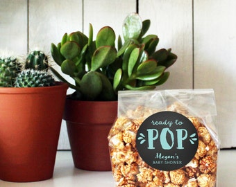 Ready to Pop Baby Shower Popcorn Bags, Flat Bottom Cellophane Treat Bags | Baby Shower Favor Doughnut Bag | Donut Favor Bags | Treat Bags