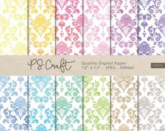 Watercolor Damask Digital Papers, Damask Digital Paper Pack, Damask Backgrounds