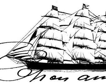 EZ Mounted Rubber Stamp Maritime Old Sailing Ship Cher Ami Altered Art Craft Scrapbooking Cardmaking Collage Supply.