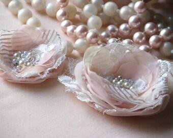 Blush hair flower Champagne hair flower Cream hair flowe Wedding hair flower Wedding headpiece 2 hair flowers Blush cream wedding flower